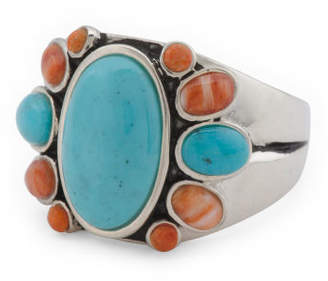 Handmade In Thailand Sterling Silver Turquoise Coral Ring