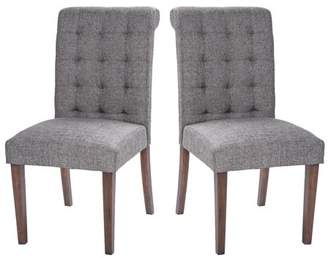 Merax Fabric Dining Chairs Set of 2 Padded Side Chair with Solid Wood Legs