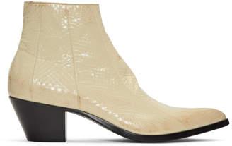 Saint Laurent Off-White Finn Crop Zip Boots
