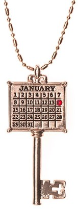 Personalized Rosetone Calendar Key Pendant w/ Chain