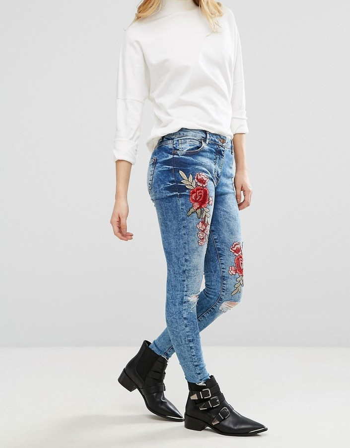 Parisian Rose Embroidered Skinny Jeans