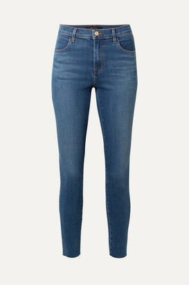 J Brand Alana Cropped Frayed High-rise Skinny Jeans - Mid denim