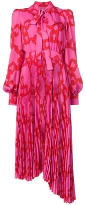 MSGM chain print pussy bow dress