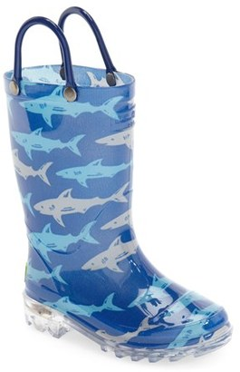 Boy's Western Chief 'Deep Sea Sharks' Light-Up Rain Boot $29.95 thestylecure.com