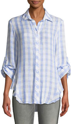 Finley Agetha Button-Front Roll-Tab Sky Check Blouse, Plus Size