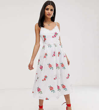 Little Mistress Tall Full Prom Skater Dress In Rose Embroidery