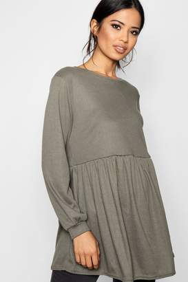 boohoo Maternity Rebecca Flare Sleeve Ribbed Smock Top
