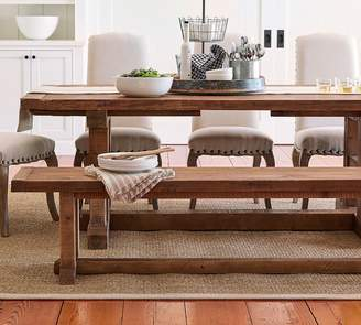 Pottery Barn Stafford Reclaimed Pine Extending Table & Bench 3-Piece Dining Set
