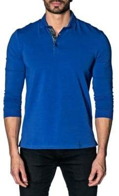 Jared Lang Long-Sleeve Ribbed Polo