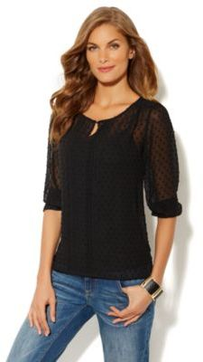 New York & Co. Clip-Dot Keyhole Blouse