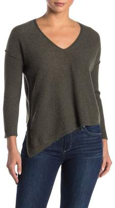 Lynk Knyt & Ribbed Knit Asymmetrical Hem Cashmere Sweater
