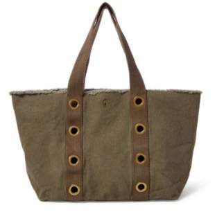 Ralph Lauren Grommet-Trim Large Canvas Tote New Olive One Size