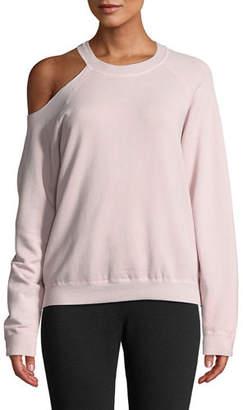 Monrow Cutout-Shoulder Crewneck Cotton Sweatshirt