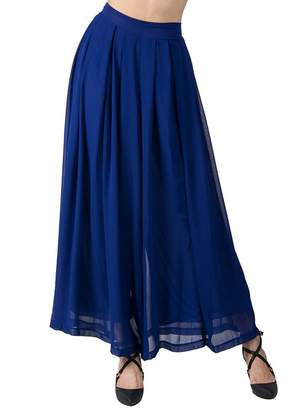 Choies Women's Chiffon Pleated Plain Elastic Waist Wide Leg Palazzo Pants One