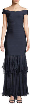 Herve Leger Off-The-Shoulder Gown with Ruffled-Chiffon Skirt