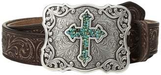 M&F Western Scroll Pierced Turquoise Cross Belt Women's Belts