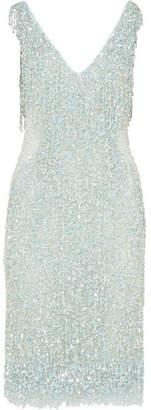 Naeem Khan Embellished Chiffon Dress - Blue