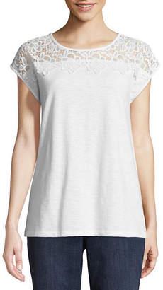 ST. JOHN'S BAY Short Sleeve Boat Neck T-Shirt-Womens