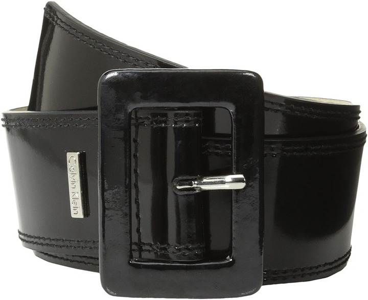 Calvin Klein - 2 1/8 Patent Covered Buckle (Black) - Apparel