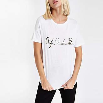 River Island Womens White 'Positive vibes' zebra print T-shirt
