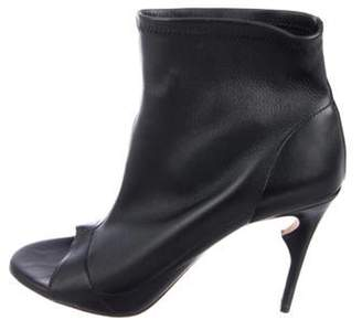 Jerome C. Rousseau Leather Peep-Toe Booties Black Leather Peep-Toe Booties
