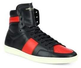 Saint Laurent Colorblock Leather High-Top Sneakers