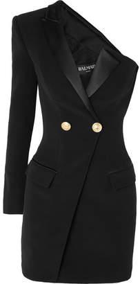 Balmain One-shoulder Satin-trimmed Crepe Mini Dress - Black
