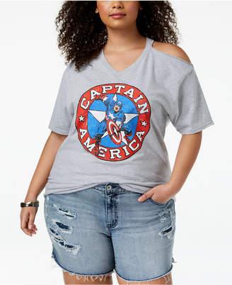 Hybrid Plus Size Captain America Cold-Shoulder T-Shirt