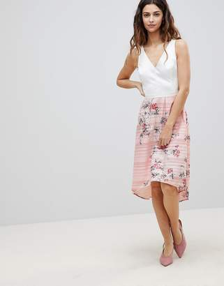 Oasis 2-In-1 Midi Dress With Floral Skirt