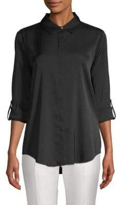 Donna Karan Rolled-Sleeve Stretch-Silk Button-Down Shirt