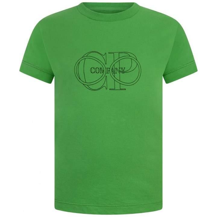 C.P. CompanyBoys Green Logo Print Top