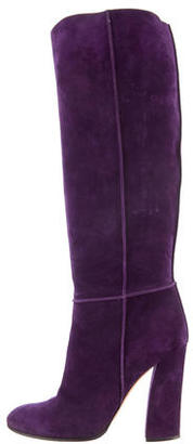 Casadei Suede Round-Toe Boots $160 thestylecure.com