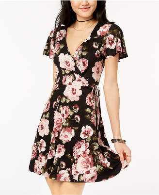 BCX Juniors' Printed Faux-Wrap Fit & Flare Dress
