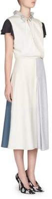 Cap-Sleeve Projection Midi Dress