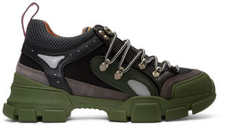 Gucci Green and Grey Flashtrek Sneakers
