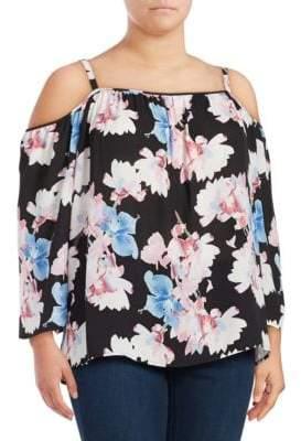 Vince Camuto Plus Floral-Print Cold-Shoulder Top