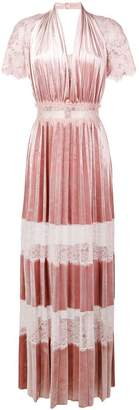 Blumarine lace panel pleated dress