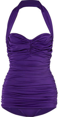 Norma Kamali Bill Mio Ruched Halterneck Swimsuit - Dark purple