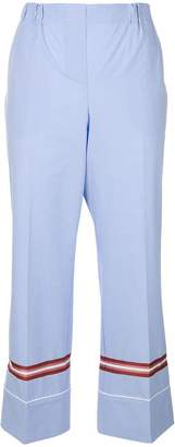 No.21 cropped web trim trousers