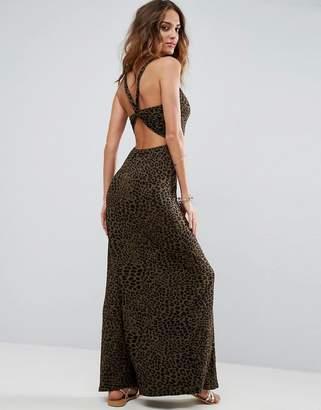 Asos Twist Back Maxi Dress In Leopard Print