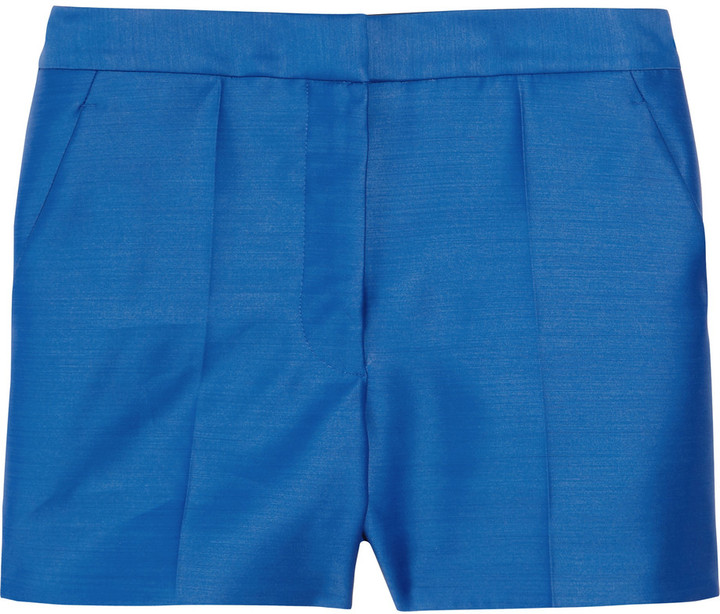 High-waisted wool and silk-blend shorts