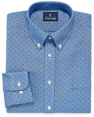 STAFFORD Stafford Travel Wrinkle Free Oxford Big And Tall Long Sleeve Dots Dress Shirt