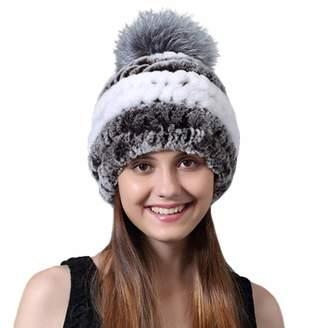 0d429174de5 at Amazon Canada · DoMyfit Women Winter Hats Real Fur Cap Pompoms Striped  Casual Female Beanie Girls Ladies Genuine Rex