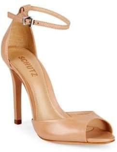 d5c6d4f10362 Schutz Beige Covered Heels Women s Sandals - ShopStyle