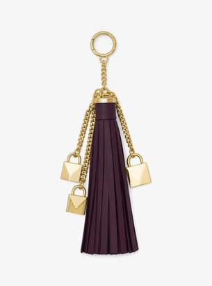 MICHAEL Michael Kors Mercer Leather Tassel and Lock Key Chain