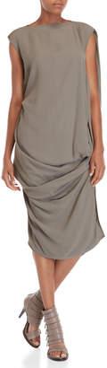 Rick Owens Grey Asymmetrical Draped Dress