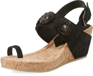 Donald J Pliner Gilly Floral Cork-Wedge Metallic Suede Sandal