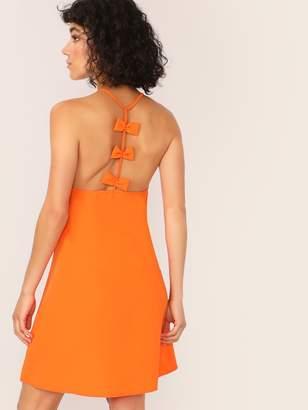 241a1ce9 Shein Neon Orange Bow Racerback Slip Dress