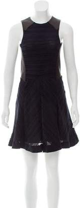 Rag & Bone Leather-Accented Fit & Flare Dress