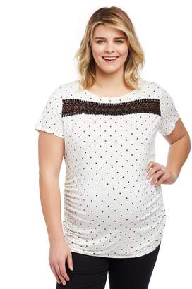 Motherhood Maternity Plus Size Lace Detail Side Ruched Maternity Tee